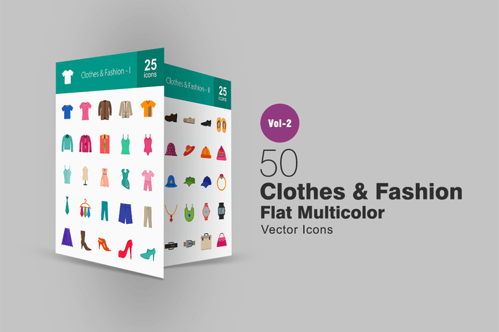 Thumbnail for 50 Clothes & Fashion Flat Multicolor Icons