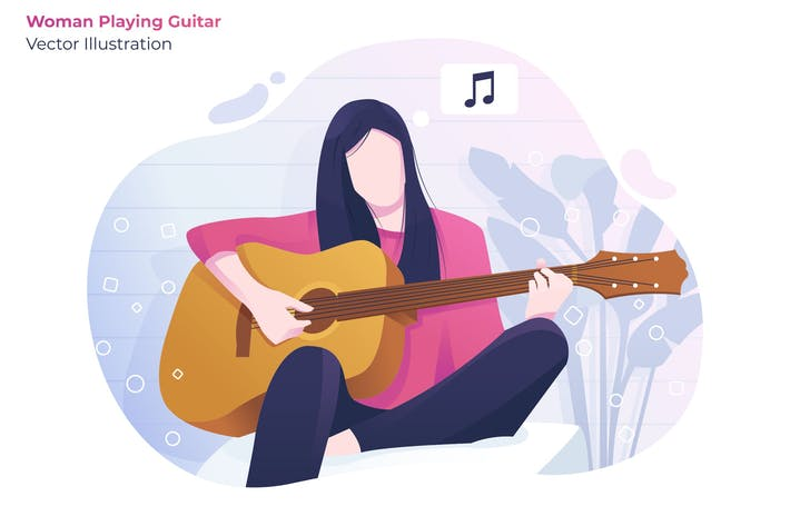Thumbnail for Women Playing Guitar - Vector Illustration