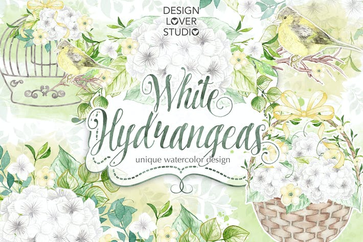 Thumbnail for Watercolor White Hydrangeas design