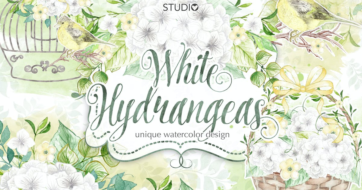 Download Watercolor White Hydrangeas design by designloverstudio