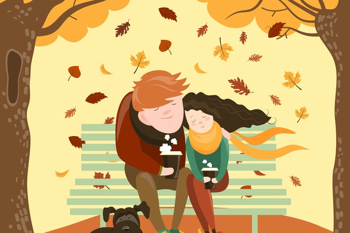 Thumbnail for Couple sitting on bench and drink coffee. Vector