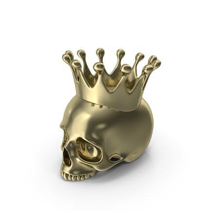 Gold Totenkopf Kerze mit Krone