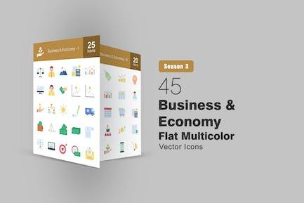 45 flache Icons für Unternehmen und Wirtschaft