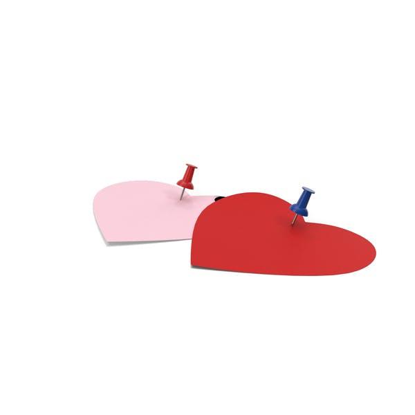 Две ноты в форме сердца со штифтами