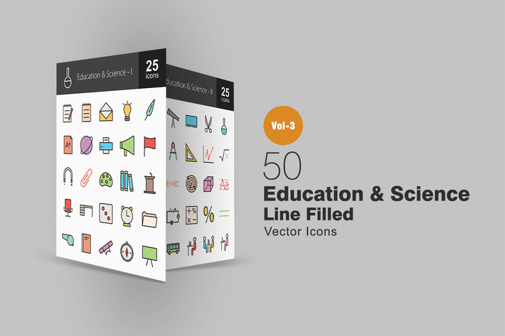 Thumbnail for 50 Education & Science Line Filled Icons