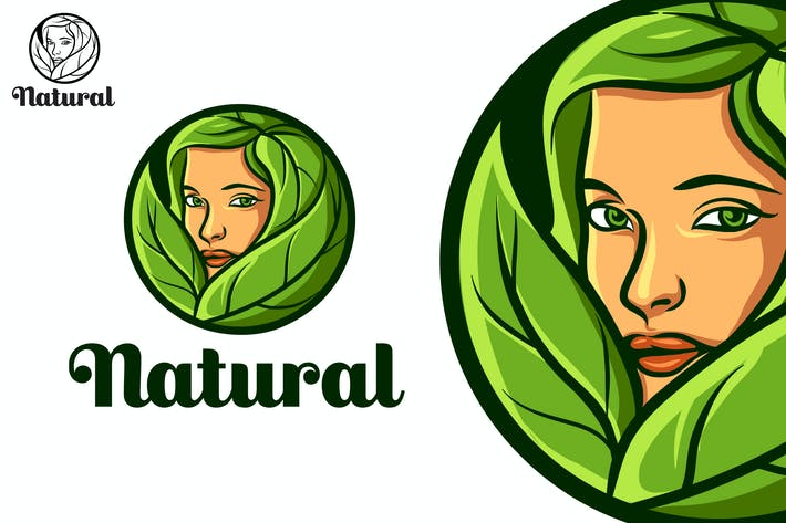 Cover Image For Natural Beauty Leaf Girl Mascot Logo