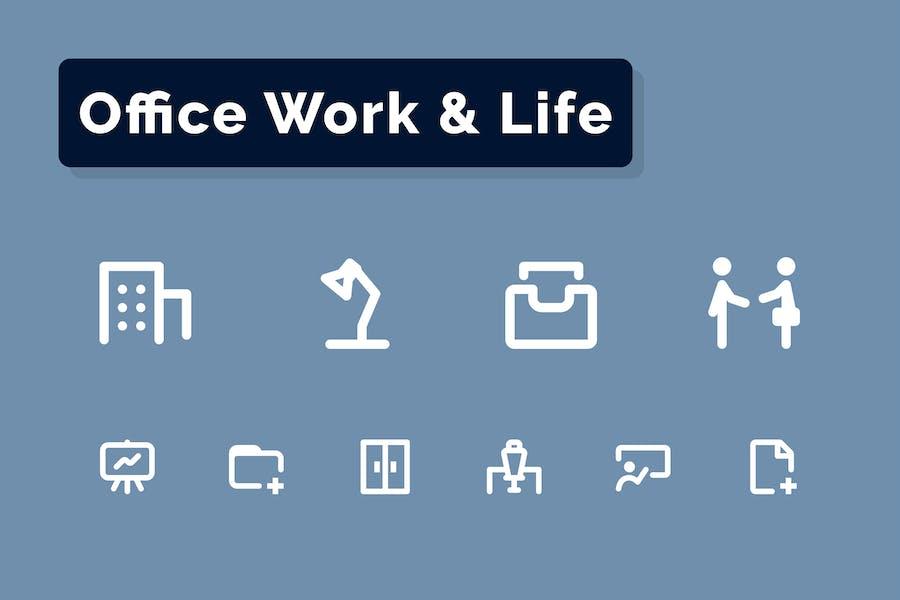 Conjunto de Íconos de trabajo y vida de oficina