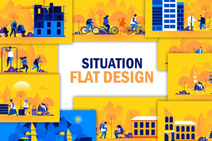 Thumbnail for Flat People Scene Situation Landing Page