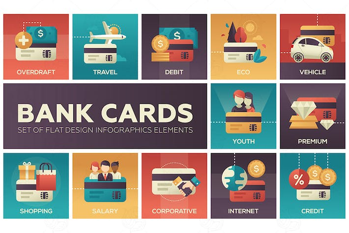 Thumbnail for Bank cards - set of flat design elements