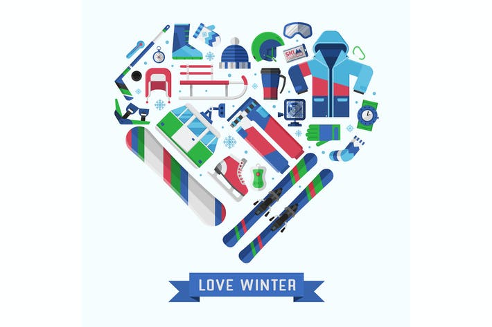 Thumbnail for Love Winter Sports Heart Print
