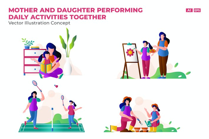 Thumbnail for Mom and Daughter Activities  Vector Character Set