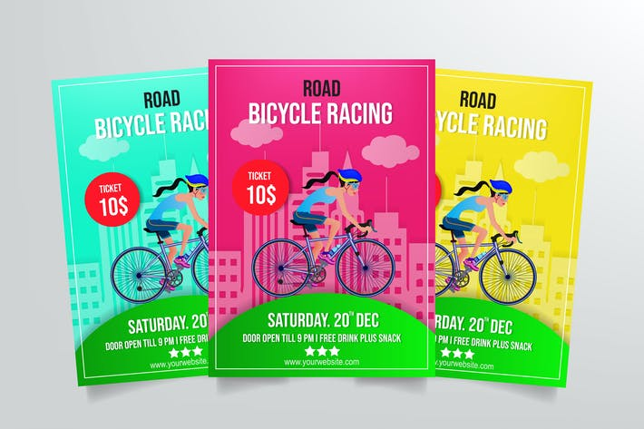 Cover Image For Road Bicycle Racing Flyer Template Vol. 2