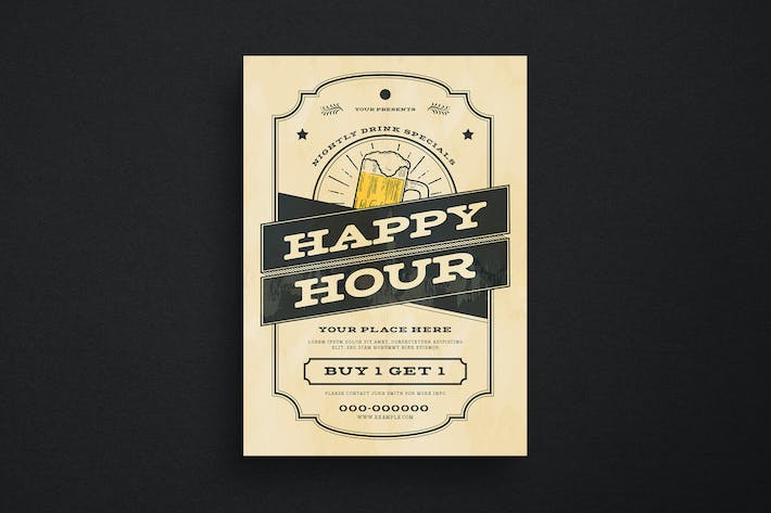Thumbnail for Vintage Happy Hour Beer Event Flyer