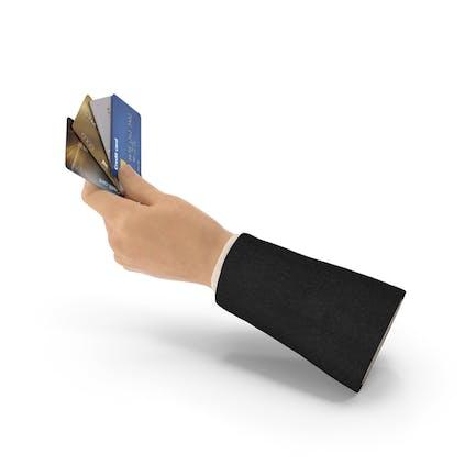 Tarjetas de crédito de mano de traje