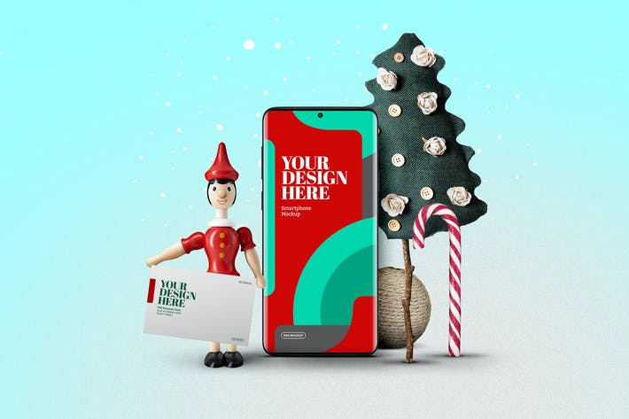Thumbnail for Christmas Smartphone Wood Doll Toy Mockup