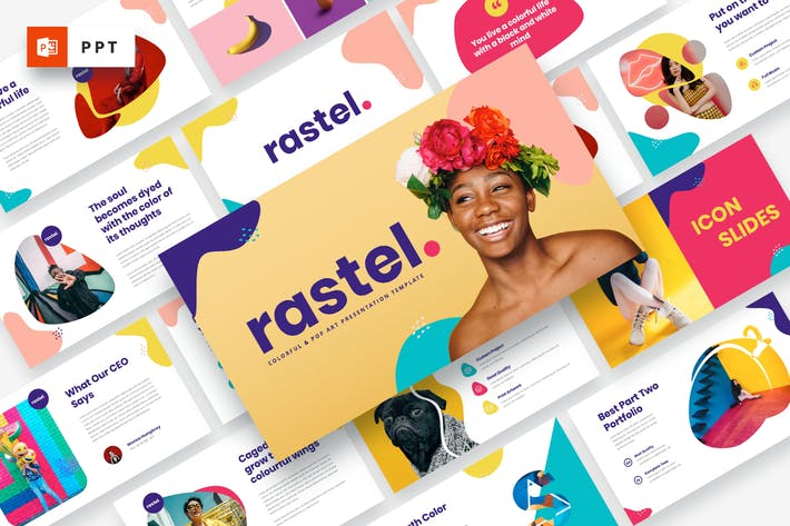Thumbnail for RASTEL - Colorful & Pop Art Powerpoint Template