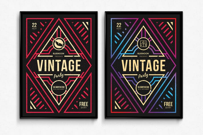 Thumbnail for Vintage Geometric Party Poster