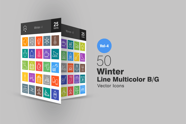 Thumbnail for 50 Winter Line Multicolor Icons