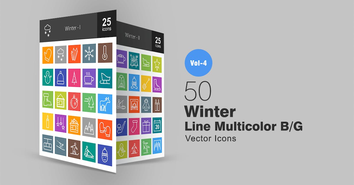 Download 50 Winter Line Multicolor Icons by IconBunny