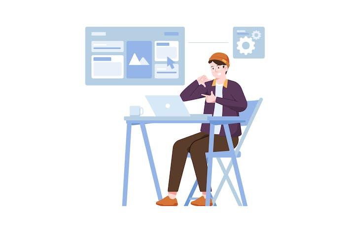 Thumbnail for Layout Designer Flache Illustration