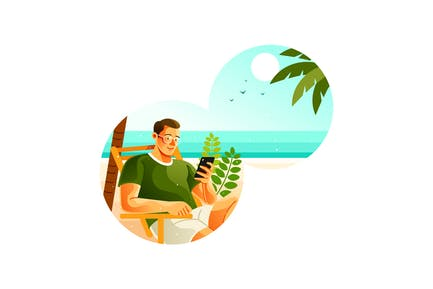 Man Using Smartphone on Beach in Summer