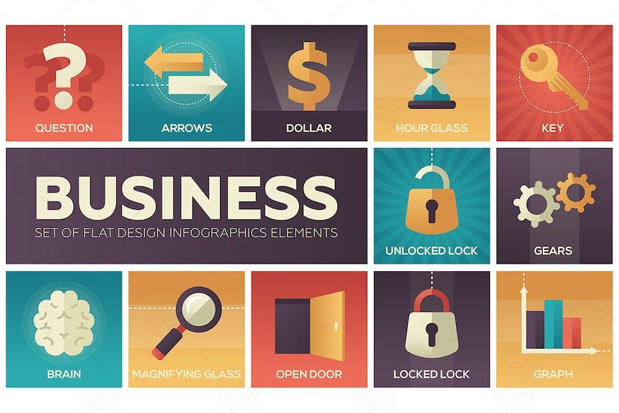 Business - set of flat design elements