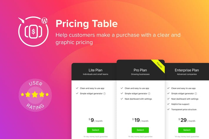 Thumbnail for WordPress Pricing Table Plugin