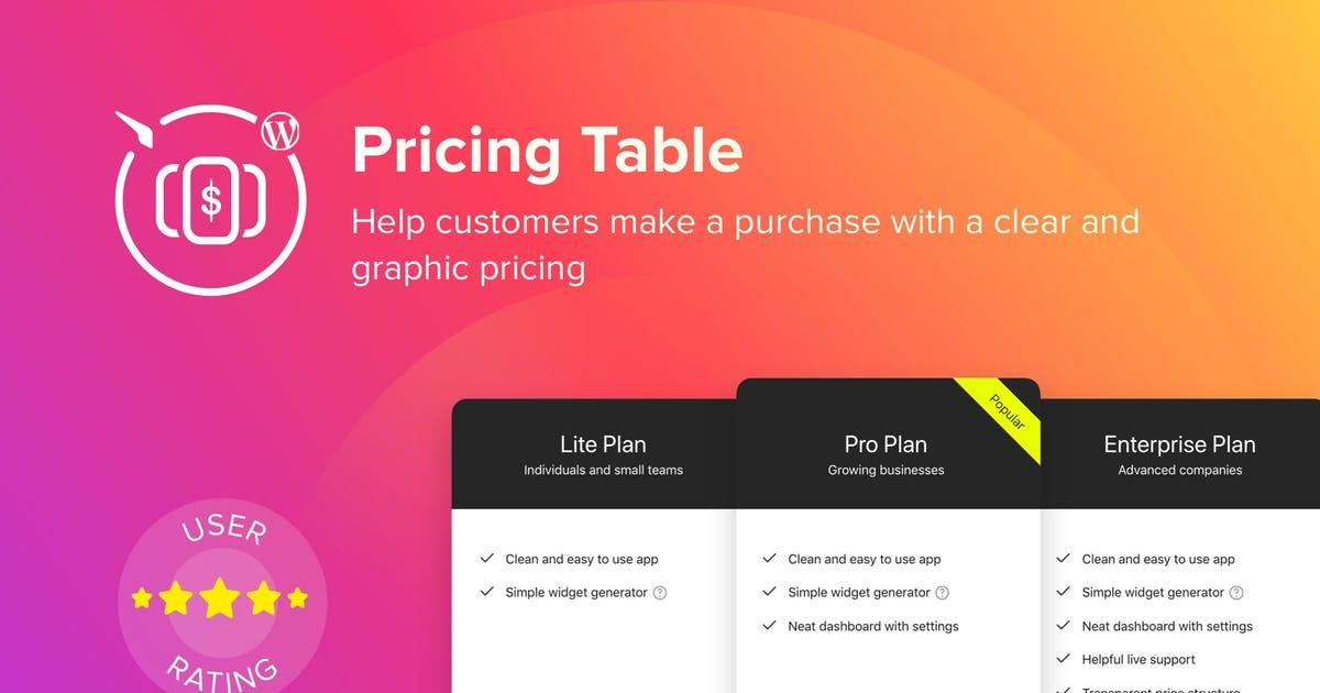 Download WordPress Pricing Table Plugin by Elfsight