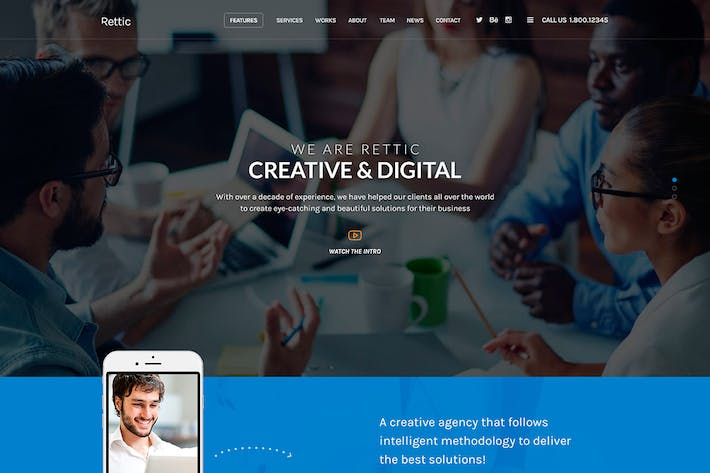 Thumbnail for Rettic - Multipurpose PSD Template