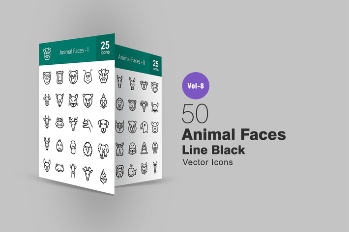 Thumbnail for 50 Animal Faces Line Icons