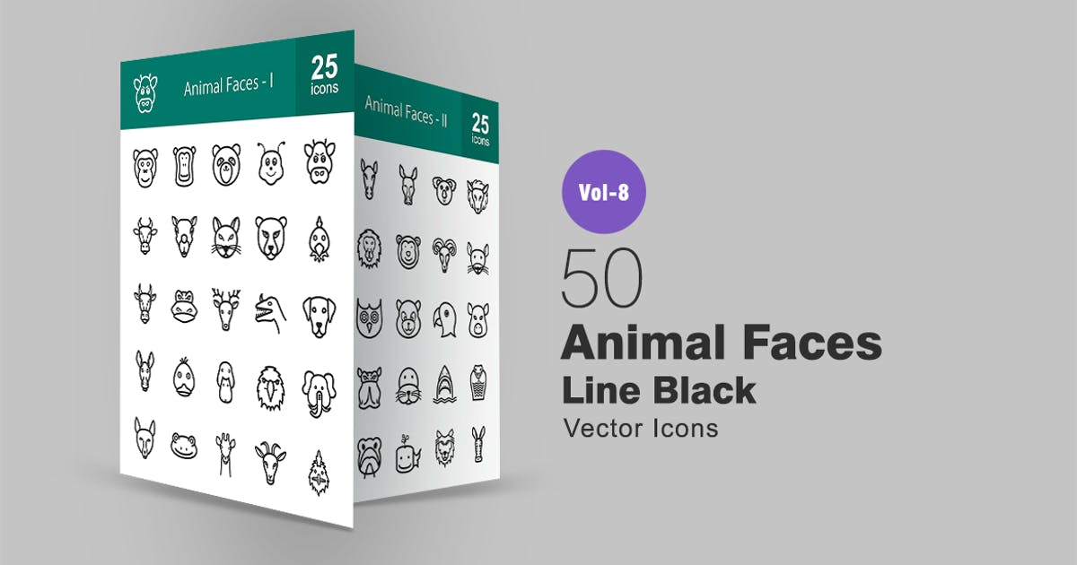 Download 50 Animal Faces Line Icons by Unknow