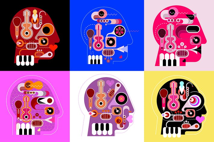 Thumbnail for Six Musical Heads vector illustration