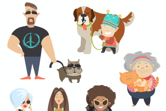 Thumbnail for Cute pets with their owners. Vector