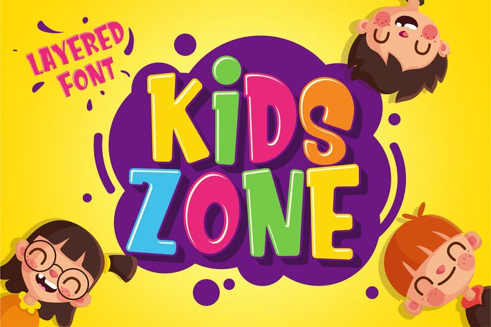 Thumbnail for Kids Zone - Layered Font