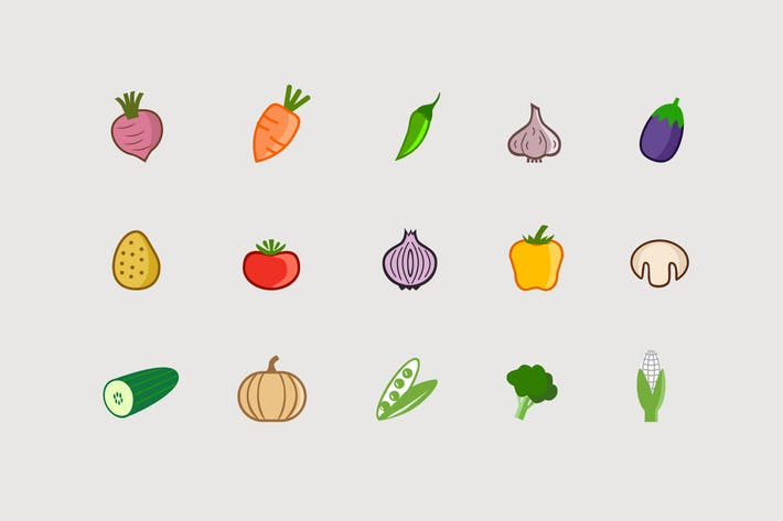 Cover Image For 15 Vegetable Icons