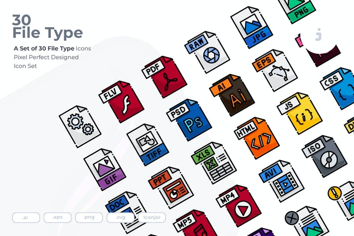 Thumbnail for 30 File Type Icons
