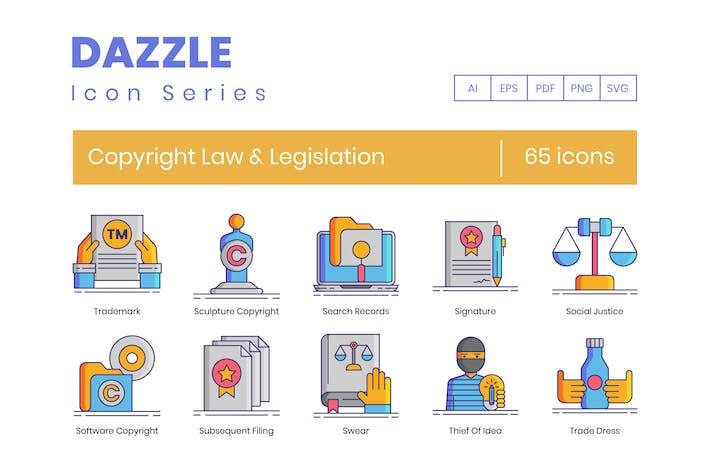 Thumbnail for 65 Copyright Law & Legislation Line Icons