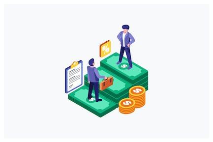 Ilustración empresarial de socios de economía isométrica