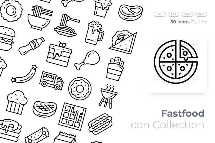Thumbnail for Fast Food Outline Icon