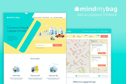 Bag and Luggage Storage Business Website in Sketch