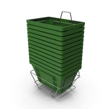 Set von 12 grünen Einkaufskörben mit Kunststoffgriffen und Ständer