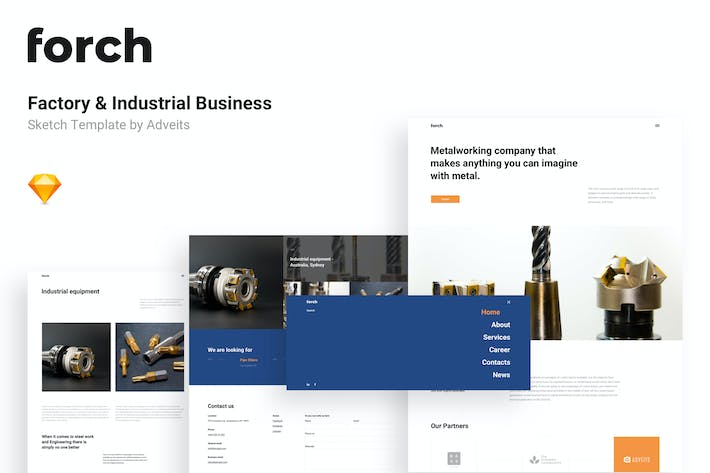 Forch - Factory & Industrial Business Sketch Templ