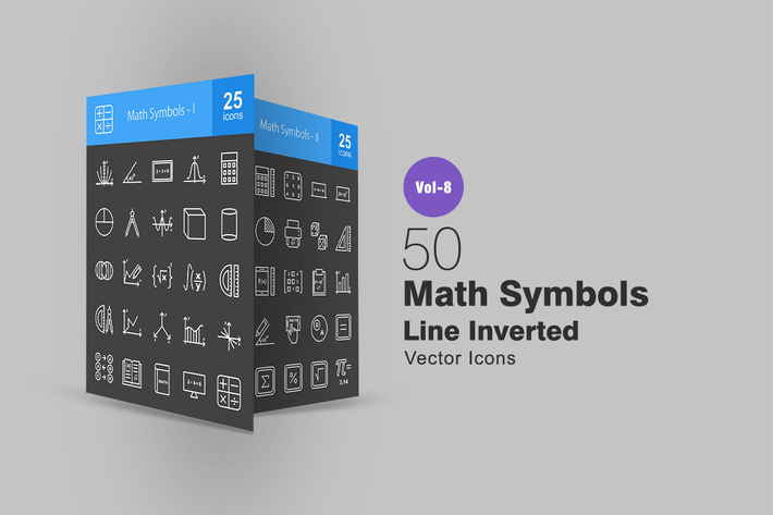 Thumbnail for 50 Math Symbols Line Inverted Icons