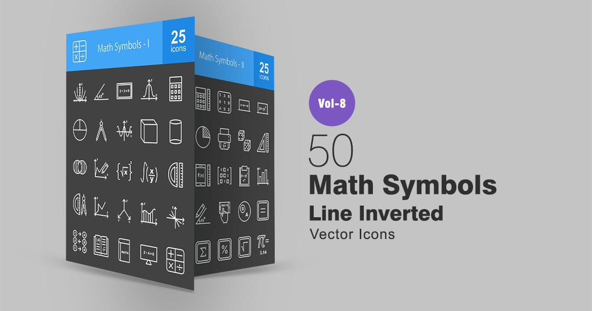 50 Math Symbols Line Inverted Icons by IconBunny