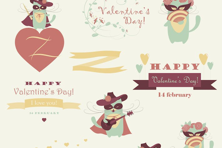 Thumbnail for Vector set of couple funny valentine cats, macho