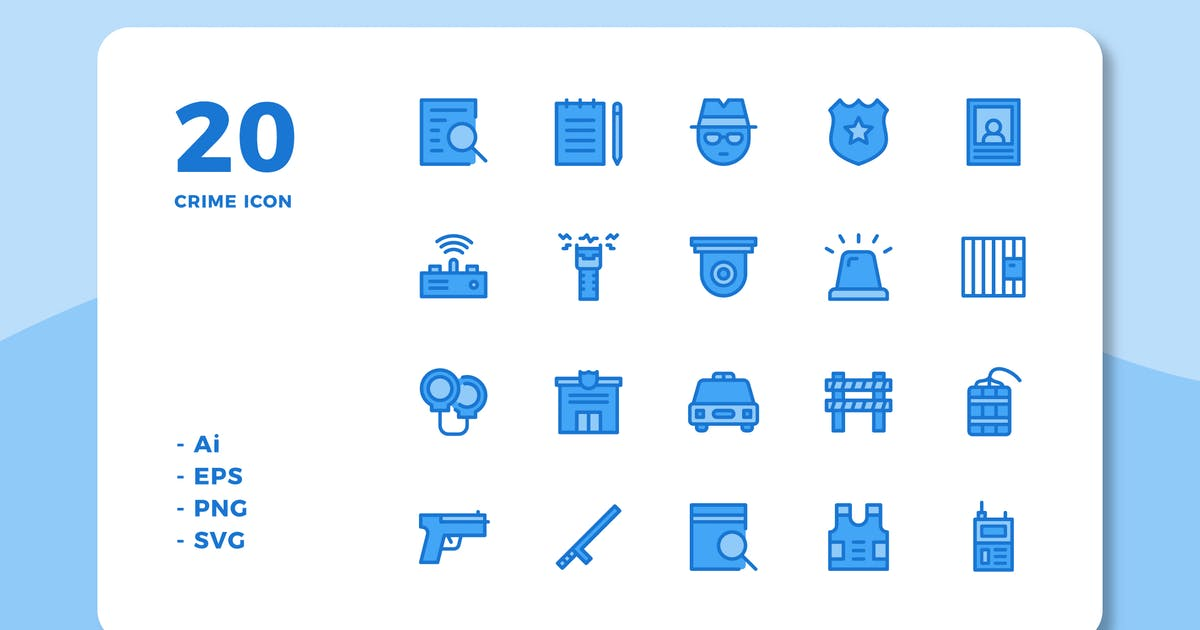 Download 20 Crime Icons (Lineal Color) by deemakdaksinas