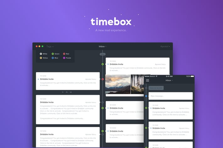 timeline mail app template mobile desktop web by cerpow on envato