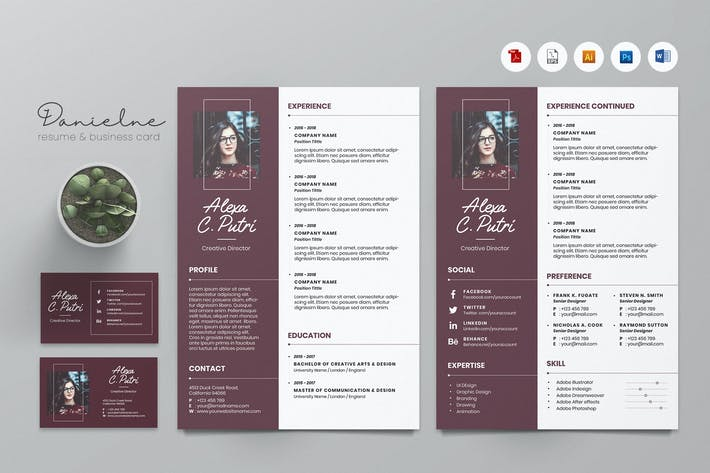 Thumbnail for Creative CV Resume & Name Card PSD, DOCX, AI No.01
