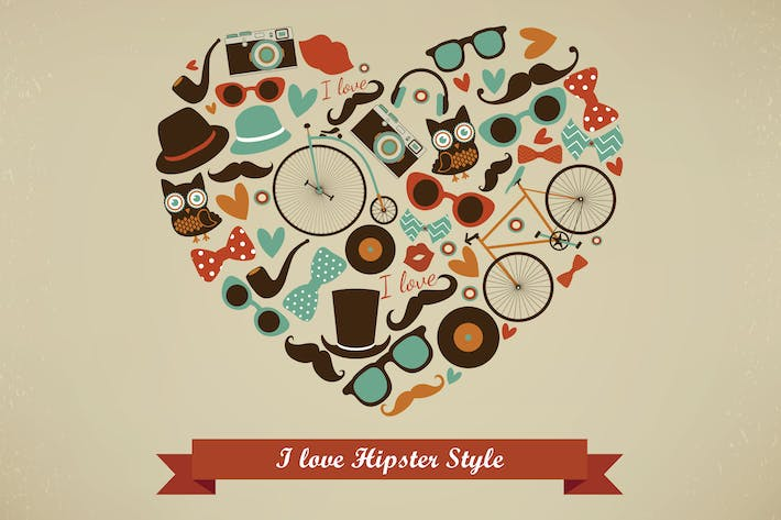 Thumbnail for I Love Hipster Style Illustration
