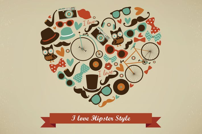 Cover Image For I Love Hipster Style Illustration